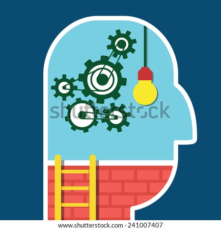 Origination of idea in head. Process of human thinking - vector illustration - stock vector