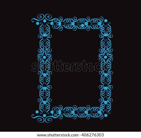 Ornament alphabet fonts neon letter D - stock vector