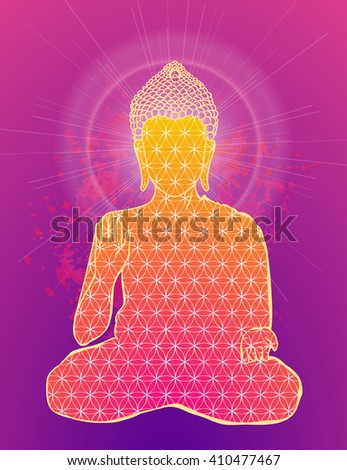 Ornament beautiful card with Buddha. Geometric element hand drawn. Medallion, yoga, india, arabic, lotus Buddha, was a sage on whose teachings Buddhism was founded. awakened one or the enlightened one - stock vector