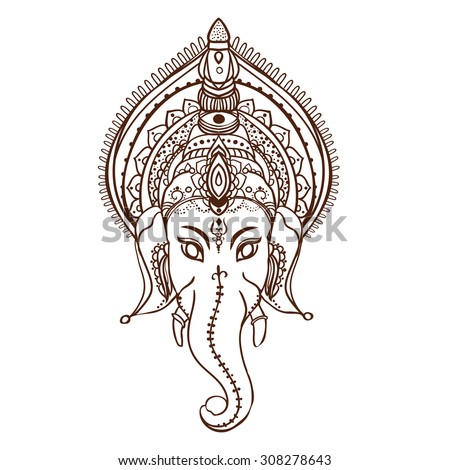 Ornament beautiful card with God Ganesha. Geometric element hand drawn. Perfect  cards for any other kind of design, birthday and other holiday, kaleidoscope,  medallion, yoga, india, arabic - stock vector