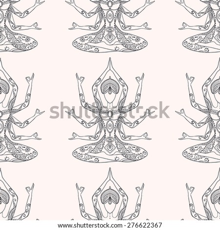 Ornament beautiful pattern with Vector yoga. Geometric element hand drawn. Perfect pattern  for any other kind of design, textile, texture, kaleidoscope,  medallion, yoga, india, arabic - stock vector