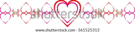 Ornament for Valentine's day with hearts and stylized green petals. Multicolor hearts in-line in the vector - stock vector