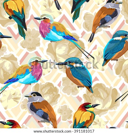 ornament vector. floral and bird pattern. seamless. pattern textiles, fashion print, seamless beautiful flowers and birds - stock vector