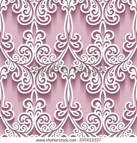 Ornamental background with cutout paper swirls, vector swirly seamless pattern, eps10 - stock vector