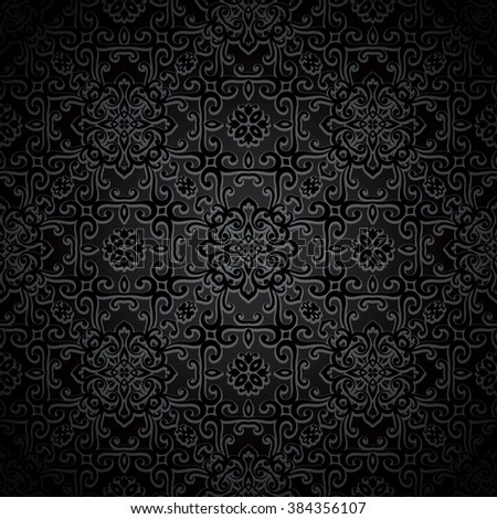 Ornamental black background, vector seamless pattern - stock vector