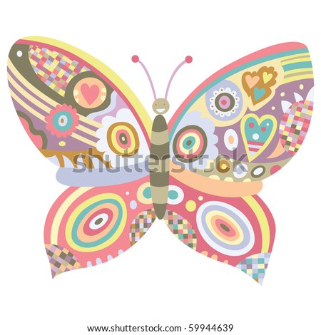 Ornamental butterfly with lot of detail - stock vector