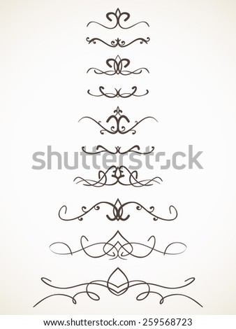 Ornamental calligraphic line page decoration Vector design element set  - stock vector