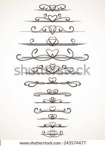 Ornamental calligraphic line with heart design element Page decoration Vector set - stock vector