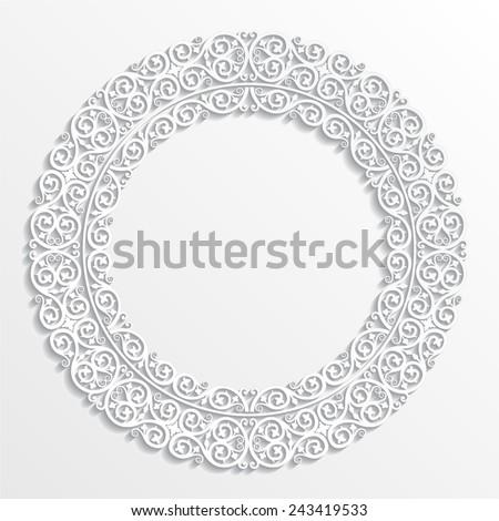 ornamental circle frame / 3d design element / vector illustration - stock vector