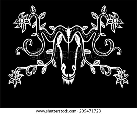 Ornamental decorative animal head with horns and flowers - stock vector