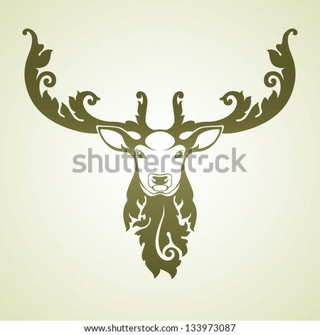 Ornamental decorative deer - stock vector