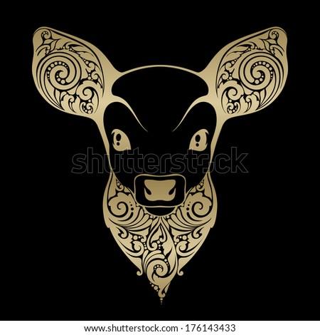 Ornamental decorative fawn - stock vector