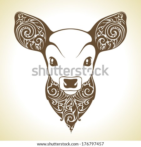 Ornamental decorative fawn  - stock vector