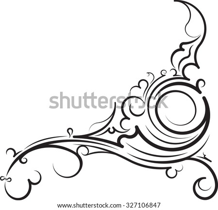 Ornamental floral corner. Vector illustration for your design or tattoo. - stock vector