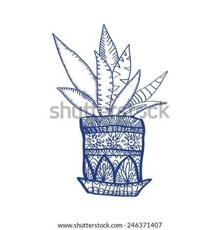 ornamental flower in pot - stock vector