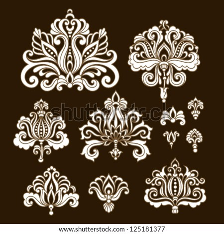 Ornamental flowers. Vector set with floral elements in vintage style - stock vector