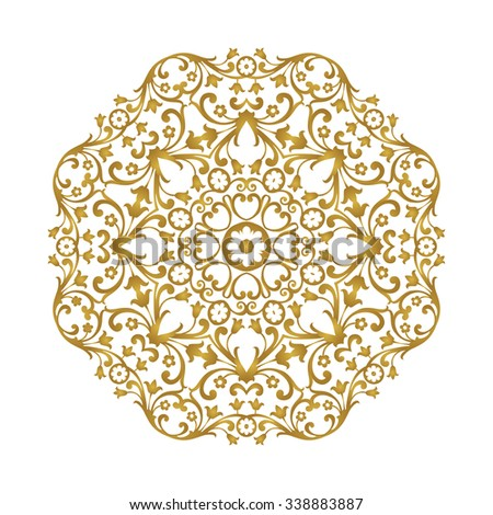 Ornamental gold lace pattern for wedding invitations and greeting cards. Ornate round element for design. - stock vector