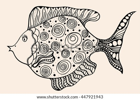 ornamental graphic fish. Vector vintage engraving. Zentangle. Hand drawn artwork. Bohemia concept for restaurant menu card, branding, logo label. Black and beige - stock vector