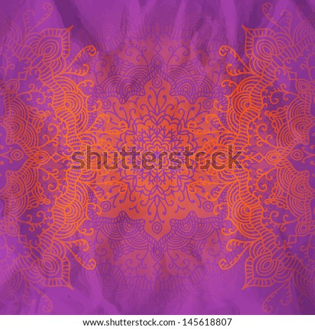 ornamental lacy background with highly detailed round pattern, looks like handmade crochet work - stock vector