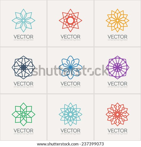 Ornamental logo template set. Vector circular symbols - stock vector
