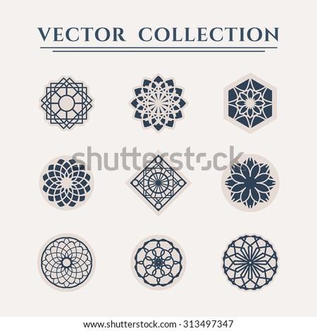Ornamental logo templates set. Vector arabic geometric symbols - stock vector