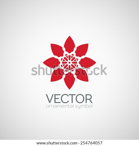 Ornamental lotus logo template design. Vector floral circular symbol - stock vector