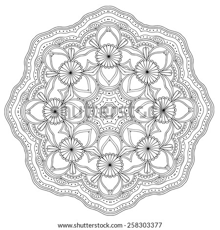Ornamental mandala. Lace round pattern isolated on white. Vector art - stock vector