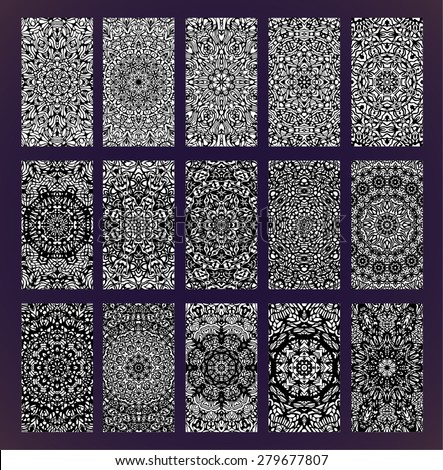 Ornamental monochrome cards set with mandala. Geometric circular elements, vector background. Perfect cards for any kind of design. - stock vector