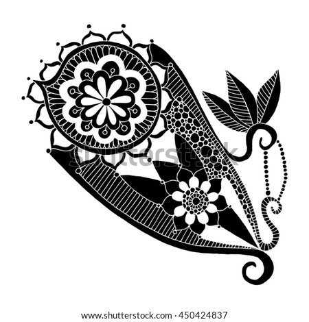 Ornamental paisley bandanna. Embroidery pattern - stock vector