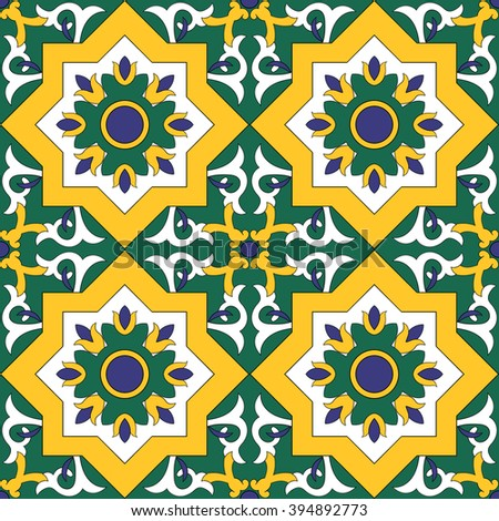 Ornamental pattern vector seamless with flowers motifs. Tile pattern - azulejo, portuguese tiles, spanish, moroccan, turkish or arabic tiles design - stock vector