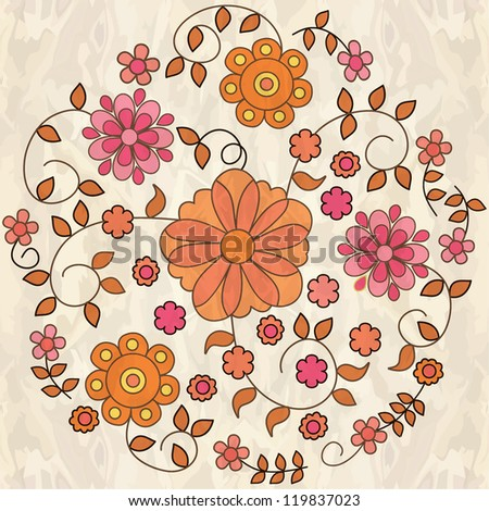 Ornamental round floral pattern. - stock vector
