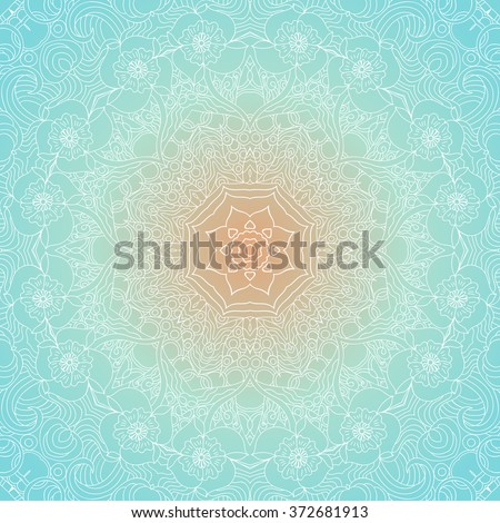 Ornamental round lace pattern, circle background with many details, looks like crocheting handmade lace. White Mandala. Blue and yellow colors, gradient. Seamless pattern. Vector. - stock vector