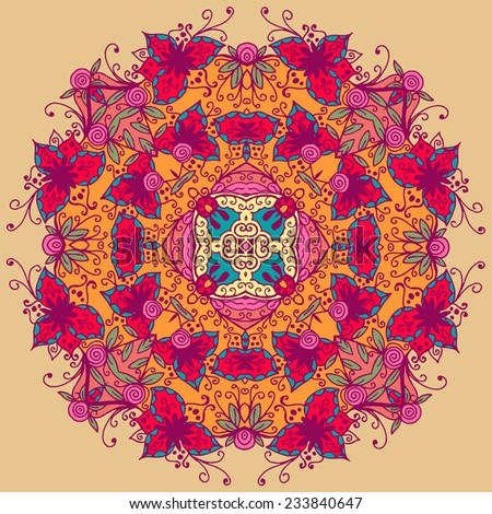 Ornamental round lace pattern. Vector illustration - stock vector