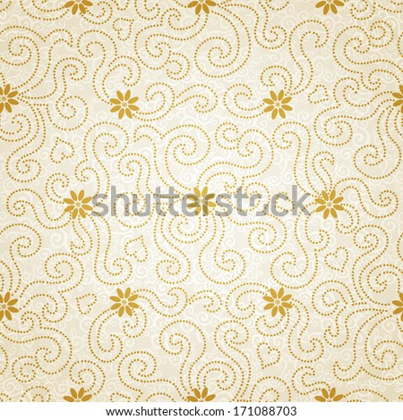 Ornamental seamless pattern with small flowers and curls. Light floral endless background. It can be used for wallpaper, pattern fills, web page background, surface textures. - stock vector