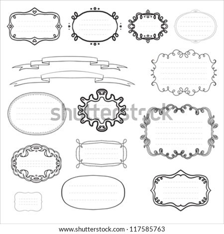 ornamental set of black and white vintage frames and ribbons, can be used as labels, or retro sale tags collection, or design elements for a book cover. - stock vector