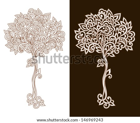 Ornamental tree with doodle elements - stock vector