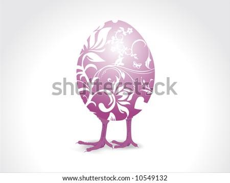 ornamental vector illustration of easter chick - stock vector