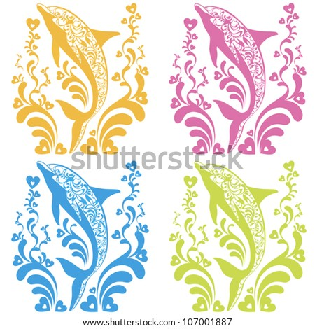 Ornamental vector set with dolphin silhouettes and  flourish elements - stock vector