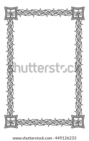 Ornamental vertical frame. Design element for advertisements, flyer, web, wedding and other invitations or greeting cards. Vector clip art. - stock vector