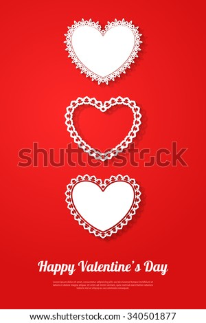Ornamental white hearts with shadow on red background. Vector illustration. Valentines day decorative greeting card or banner with place for text. Happy Valentines Day or Mother's Day Template. - stock vector