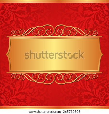 ornate background with golden banner - stock vector
