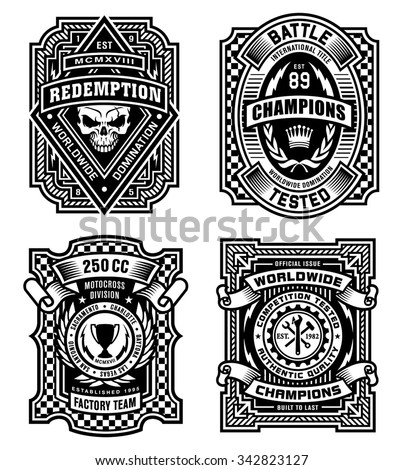 Ornate black and white emblem graphic design set - stock vector
