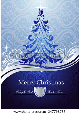 Ornate blue Christmas tree - Possible to create holiday cards and ornaments. - stock vector