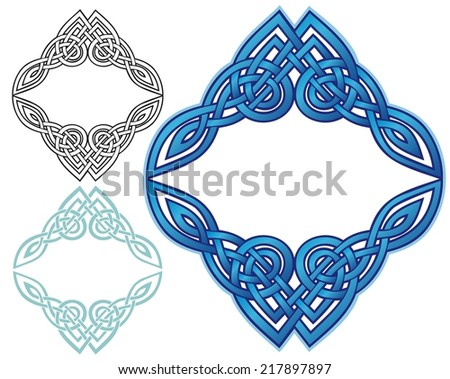ornate border in knotwork, with variations - stock vector
