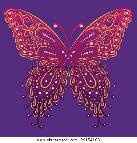 Ornate Butterfly (Hand Drawn) - stock vector