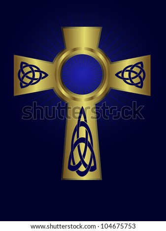Ornate celtic gold cross on a deep blue background with starburst effect - stock vector