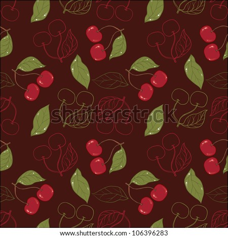 Ornate cherry pattern isolated on a broun background. - stock vector