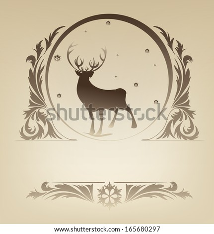 Ornate Christmas background with silhouette standing reindeer - stock vector