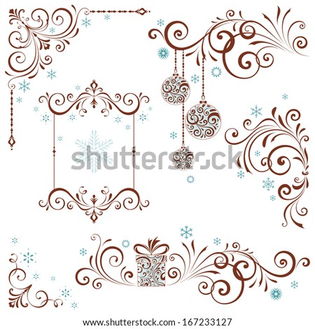 Ornate Christmas swirl set with frame and snowflakes. - stock vector