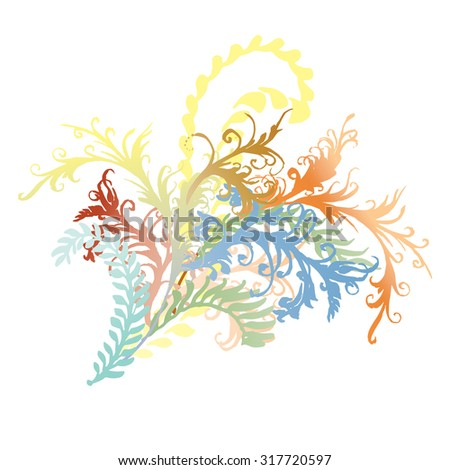 Ornate curly flower vines and leaves illustration. Colorful fern flourishes, hand-drawn curly floral burst.  - stock vector